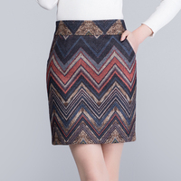 Woman plus size Empire Geometric Knee length woolen slim skirts female winter stripe thicken zip cashmere Pencil skirt