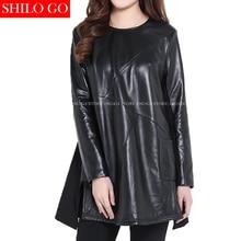 Plus size new fashion women high quality Sheep skin luxury O-neck long-sleeved geometric black genuine leather long Aline dress