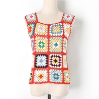 New 2019 Runway Brand Designer Tank Harajuku Women Knitted Plaid Sleeveless Hollow Out Patchwork Colorful Elegant Casual Top