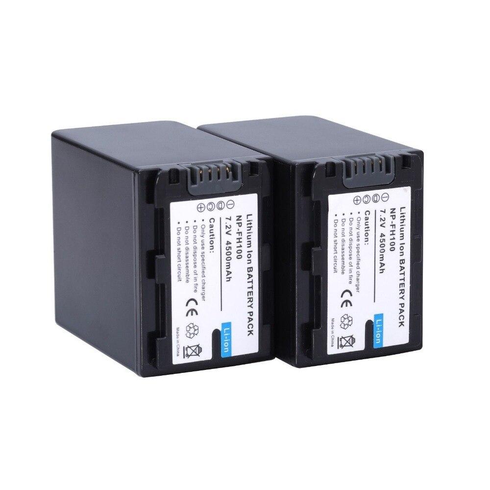 2*4500 mAh np-fh100 NP fh100 batería/Baterías para Sony np-fh70 fh50 fh30 dcr-sx40 sx40r envío libre