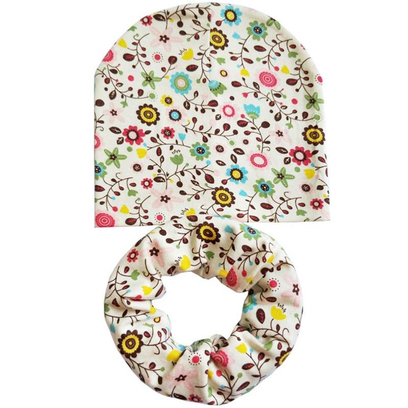 beige flower baby hat scarf