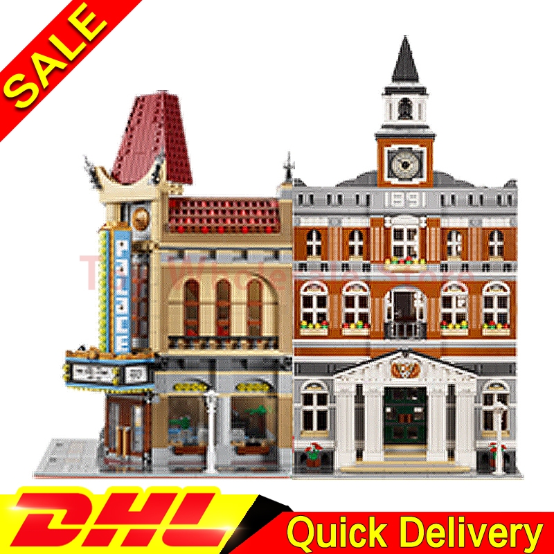 Lepin 15003 town hall + Lepin 15006 Palace Cinema City Street Model Building Blocks Bricks Kits lepins Toy Clone 10224 10232 dhl 2859 pcs lepin 15003 street town hall building set city street blocks model self locking bricks toy compatible 10224