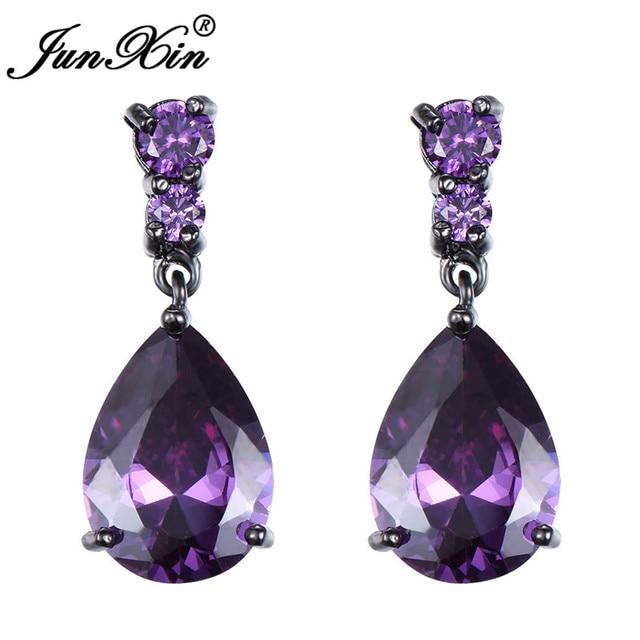31a5e91b1 JUNXIN Purple/Blue/Red Water Drop Earrings Luxury Zircon Teardrop  Chandelier Earrings Vintage Black