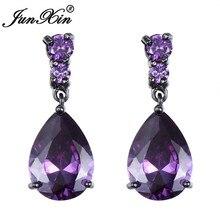JUNXIN Purple/Blue/Red Water Drop Earrings Luxury Zircon Tea