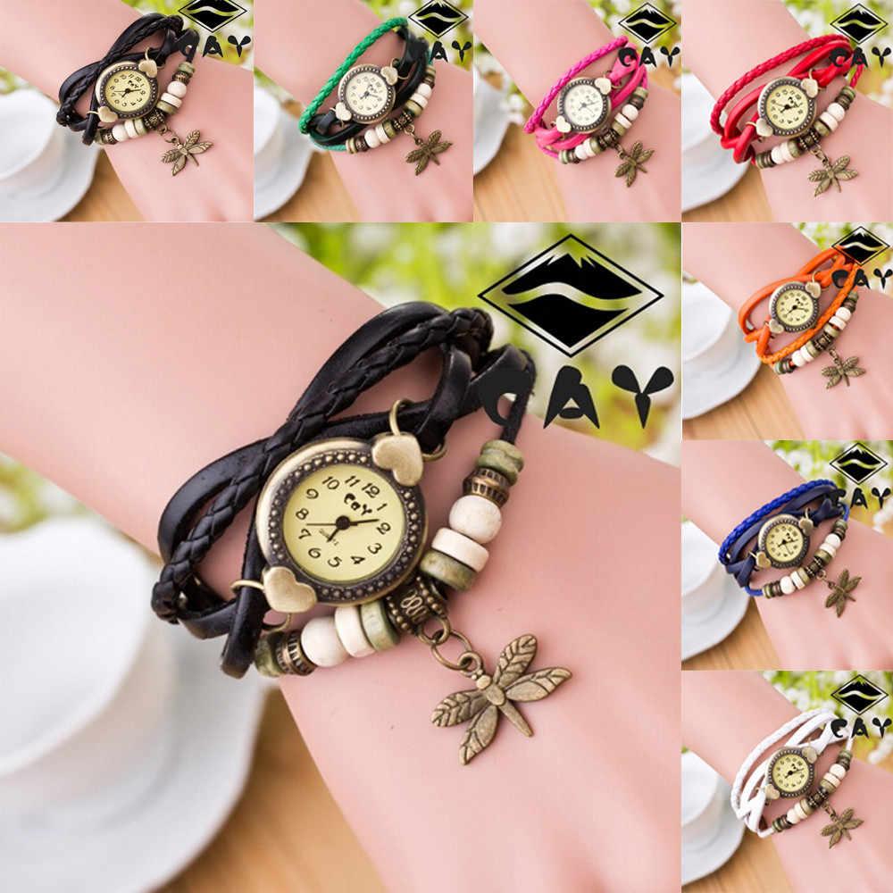 נשים שעונים 2018 Relogio Feminino עור מפוצל ריינסטון מסמרת שרשרת קוורץ שעוני יד צמיד שעון נשים Montre Femme מתנה #