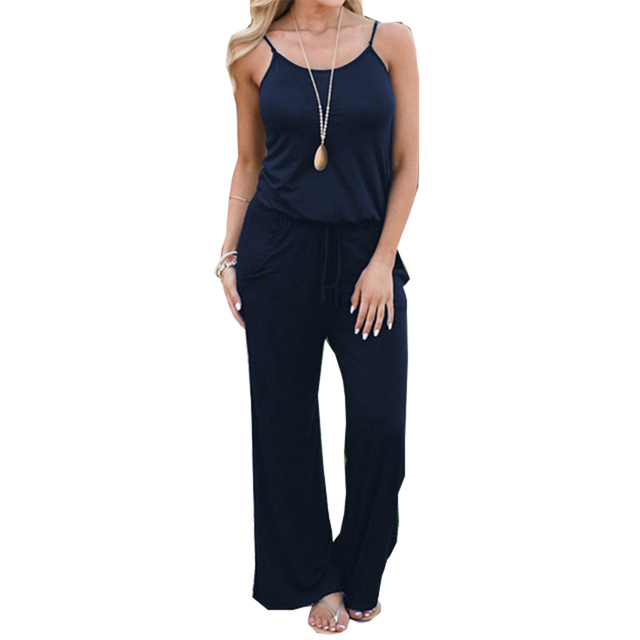 7f8ddeb5fea8 Plus Size XXL Summer Jumpsuits Spaghetti Strap Women Long Playsuit Solid Casual  Jumpsuit Overalls Wide Leg