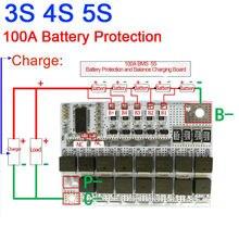 100A BMS 밸런스 3S 4S 5S 리튬 이온 LiPo 폴리머 배터리 보호 보드 PCB 충전 보드 11.1v 14.8v 18.5v 3.7V