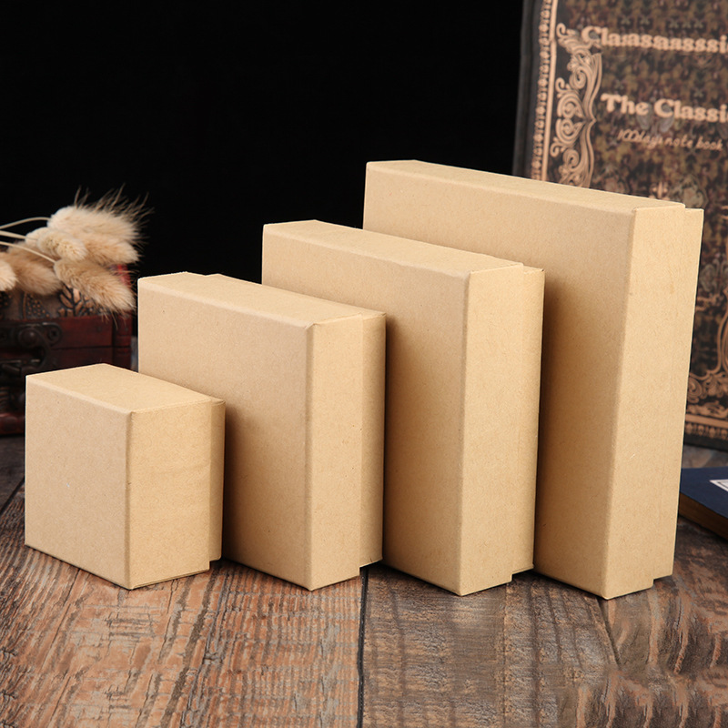 1 Pcs Brown Kraft Paper Favour Jewelry Box Vintage Design Gift Packaging Box Casket Earrings Ring Pendant Bracelet Boxes