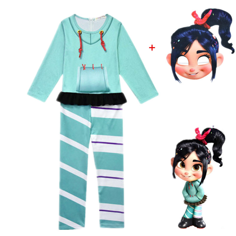 Hot Jumpsuit Vanellope Von Schweetz Halloween Costume Wreck It Ralph2 Ralph Breaks The Internet Clothing For  Girls Kids Mask