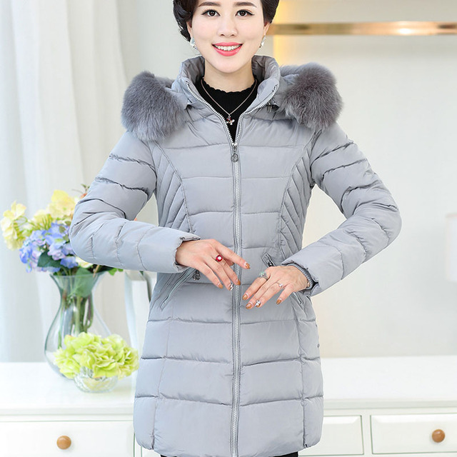 c8556ec0a US $54.0 |Winter Puffer Jackets for Elderly Women Long Down Cotton Parka  Hooded Female Quilted Coat Faux Fur Collar Lady Manteau Femme-in Parkas  from ...