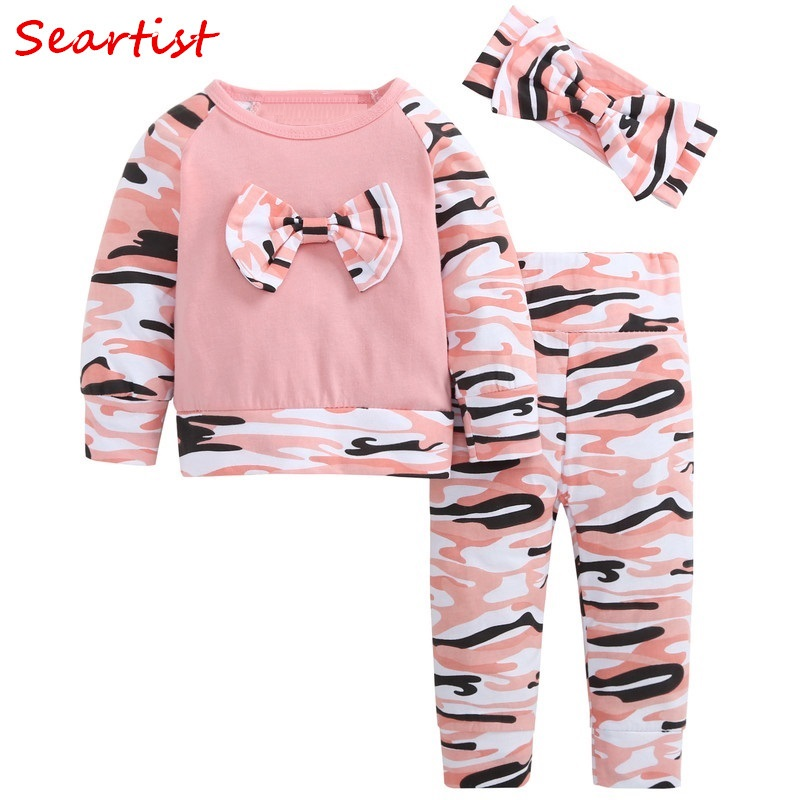 Seartist 2018 New Baby Girls Clothes Kids Clothing Set 3Pcs Headband+T-shirt+Pants Camouflage Spring Children Clothes Suit 49 2018 new girls clothes set summer baby girls clothes vest pants children suit for kids girls clothing suit