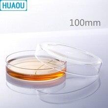 HUAOU 100 мм Петри бактериальная культура блюдо боросиликатное 3,3 стекло лабораторное химическое оборудование