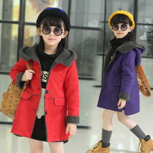 New Girls Long Style Outerwears 2016 Children Winter Jackets Baby Warm Faux Suede Jackets Toddler Cotton-padded clothes, 4-14Y