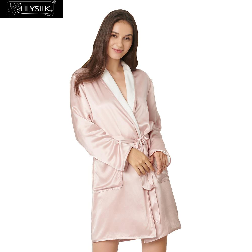 9819722146 LilySilk Robe for Women Silk Reversible Two-sided Mid-length Long Sleeves  Luxury NEW