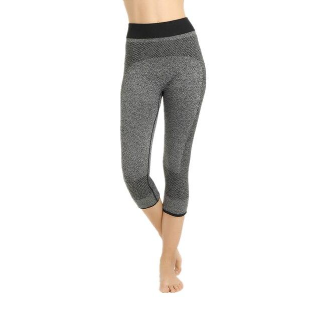 Gris Femmes De Yoga Pantalon Remise En Forme Sans Soudure Pantalon Maigre  Sport Capris 3  0f1ea53be58