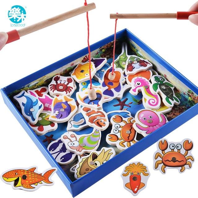 Brinquedos Do Bebê Logwood 32 pcs Educacional jogo De Pesca Divertido Jogo de Jardim de Pesca Magnética Brinquedos De Madeira Presentes de Natal de Aniversário para Crianças