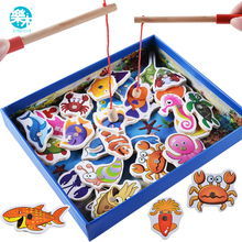 Logwood Baby Toys 32pcs Magnetic Fishing Educational Fishing game Wooden Toys Child Birthday Christmas Gifts