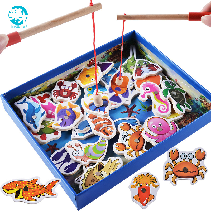 Logwood Baby Wooden font b Toys b font 32 pcs Fish Game Magnetic Fishing font b