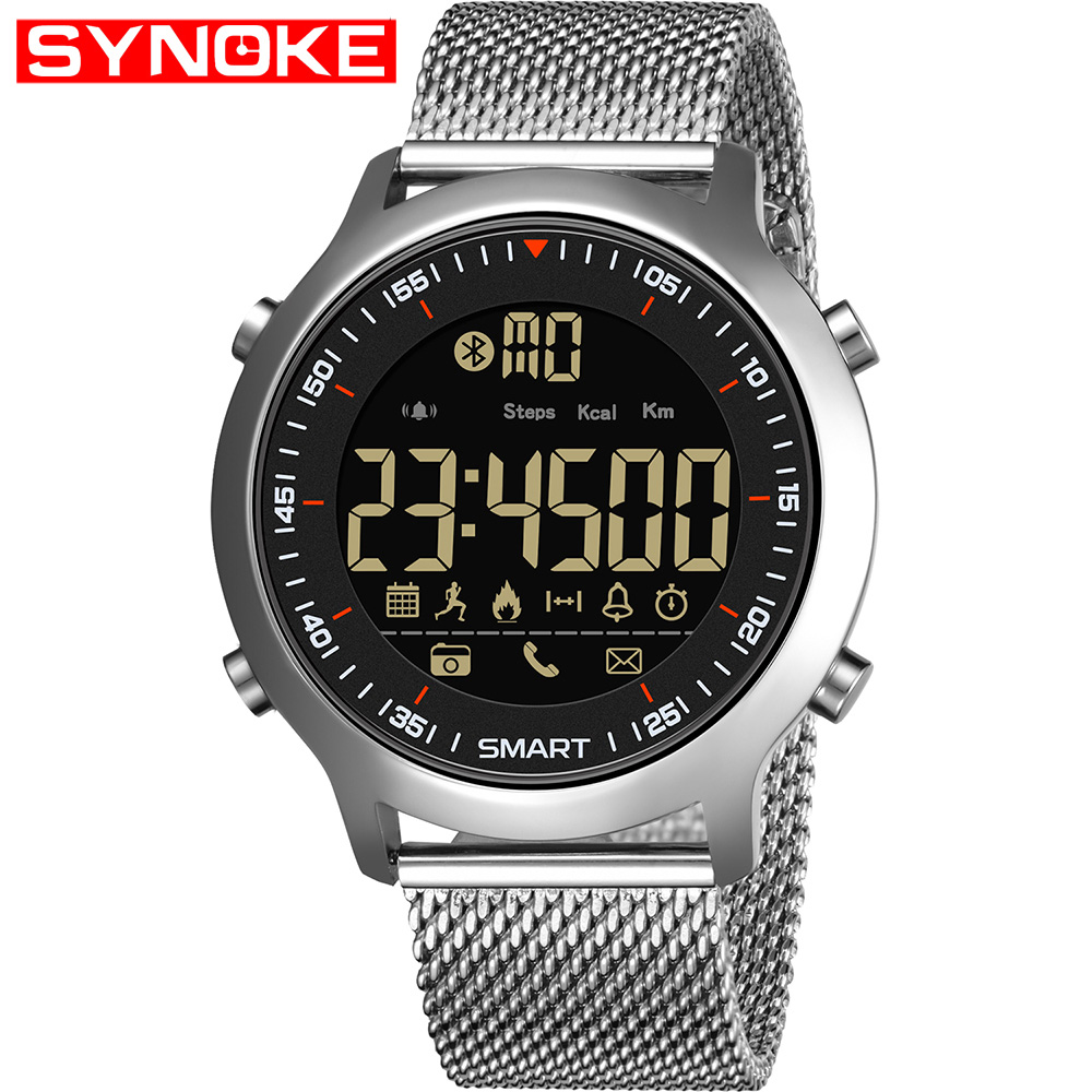Synoke Smart Watch For Man Waterproof 5bar Luxury Stainless Steel Mesh Rubber Pedometers Message Reminder Sport Smart Watch To Have A Long Historical Standing Digital Watches Men's Watches