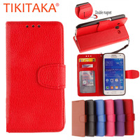 Retro Wallet Leather Flip Phone Cases For Samsung Galaxy Core 2 G355H SM-G355H Cover Capa Coque Clemence Card Holder Fundas Para