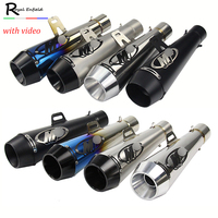 51mm Universal Motorcycle muffler Muffler Pipe Case for Honda CBR1000 Case for Yamaha R6 for Kawasaki Exhaust with video