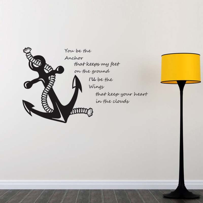 Nautical Quotes Wall Stickers Anchor Home Decorative Vinyl Wall - Vinyl wall decal adhesive
