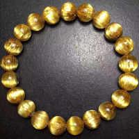 Top qualité 10mm naturel brésil or rutilé titane Quartz Bracelet pour femme homme rond riche cristal perles Bracelet AAAAAA