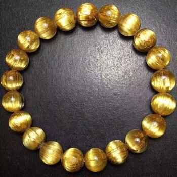 Pulsera de cuarzo de titanio rutilado oro Brasil Natural de 10mm de calidad superior para mujer hombre redondo rico brazalete de cuentas de cristal aaaaaaaa