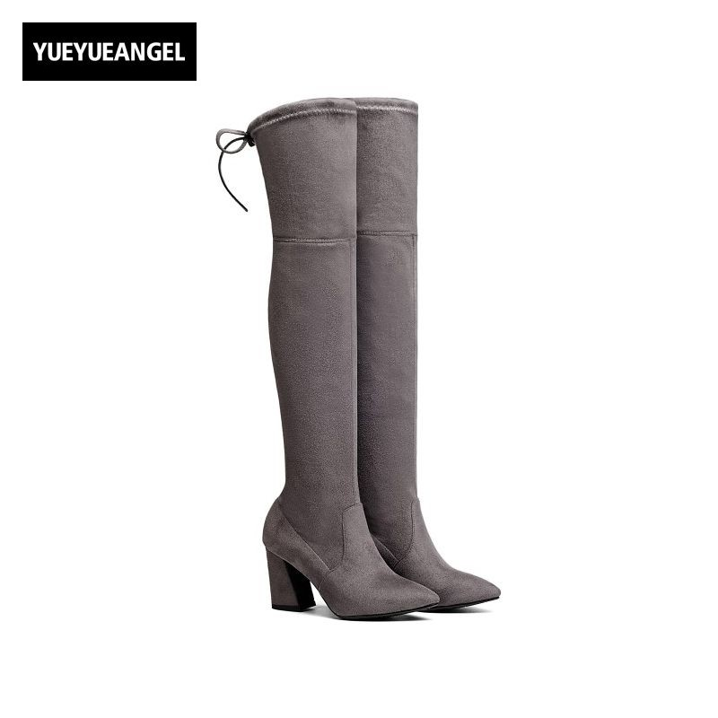 Womens New Fashion Thigh High Heel Boots Over Knee Female Shoes Faux Suede Bota Feminina Cano Alto Stretch Plus Size 34-43