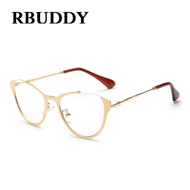 6bcfd4b41a1 RBUDDY Computer glasses women Cat eye Gold Frame Eyeglasses Women Clear  Lens Glasses Transparent Optical Fake Glasses 2017