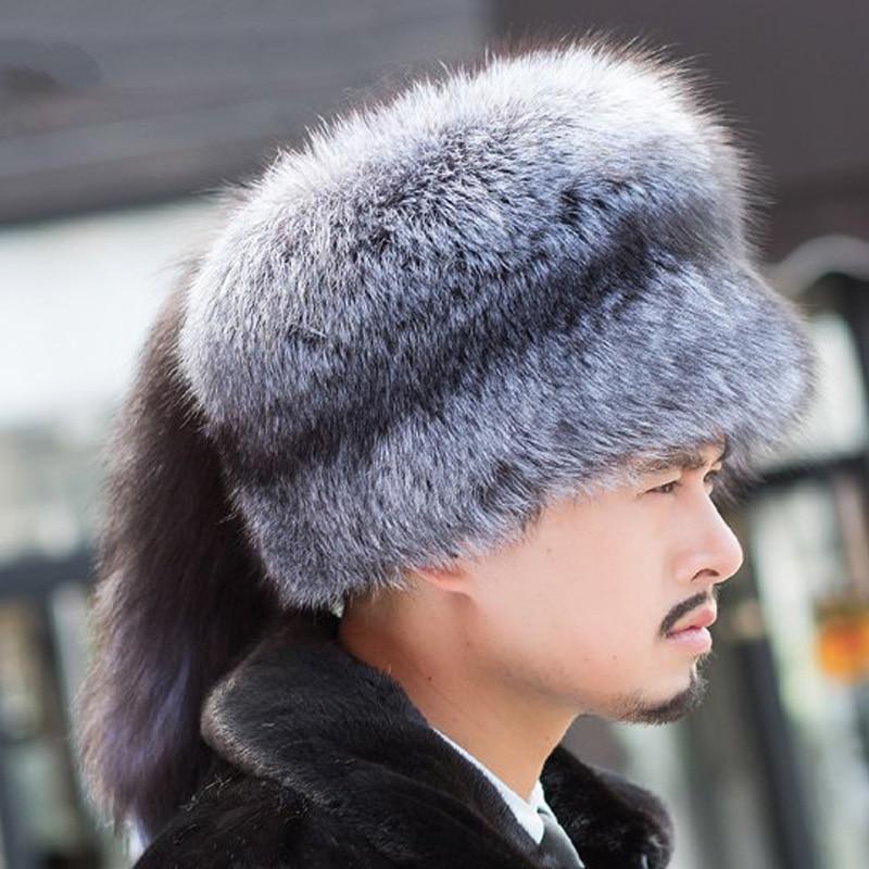 Russo reale argento naturale della pelliccia di volpe cappuccio uomo con  signora volpe coda di sesso maschile inverno cappello morbido in Russo reale  ... 65c2c6dead8b