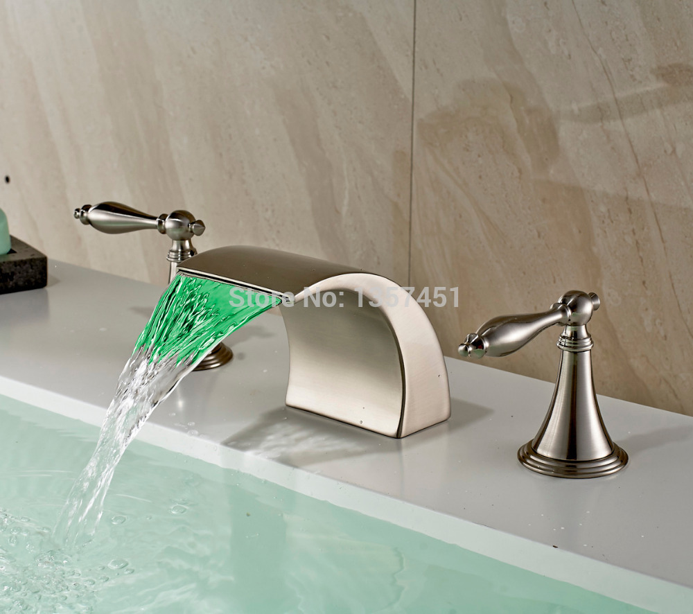 Brushed Nickel LED Colors Waterfall Bathroom Sink Faucet Deck Mount Basin Mixerin Basin Faucets