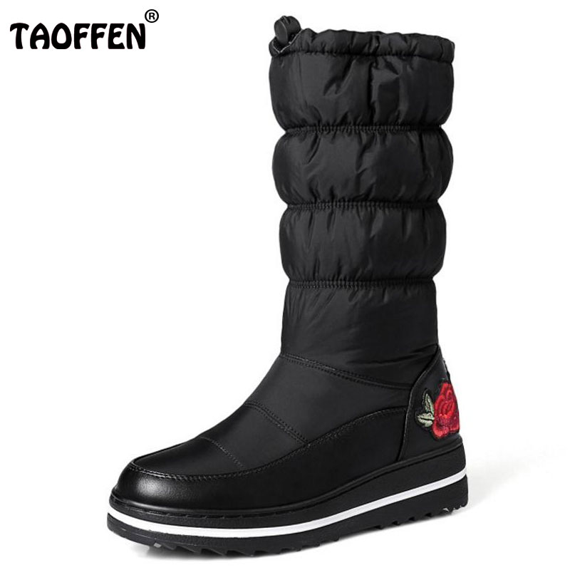 TAOFFEN Size 35-44 Ladies Wedges Mid Calf Winter Boots Women Thick Platform Slip On Flower Shoes Women Thick Fur Warm Snow Botas double buckle cross straps mid calf boots
