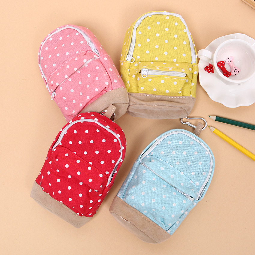 1PC Cute Kawaii Dot Boys Pencil Case Fabric Pencil Bag Pen Box for Girls Office School Supplies Korean Stationery