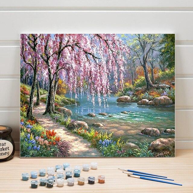 Pintar Pinturas Al óleo Por Números Paisaje De Campo Diy Acrílico Para Colorear En Lienzo Arte Pared Cuadros Sala Estar Adultos Dibujo