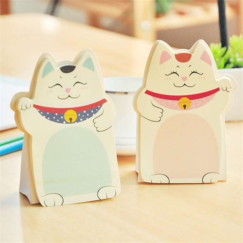 2018 new DIY Lucky Cat memo pad Sticky label post it school sticky note for school office supplies stationery wholesale 1pc lot cute rabbit design memo pad office accessories memos sticky notes school stationery post it supplies tt 2766