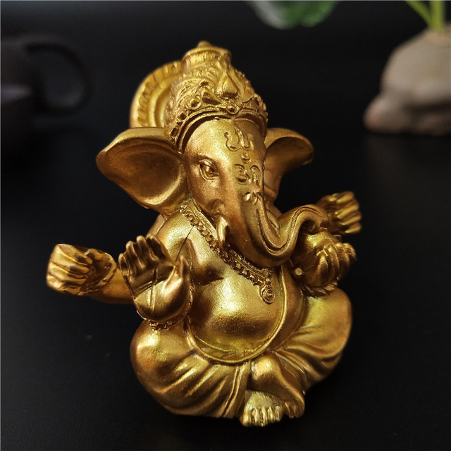 Gold Lord Ganesha Buddha Statue Elephant God Sculptures Ganesh Figurines Man-made Stone Home Garden Buddha Decoration Statues 2
