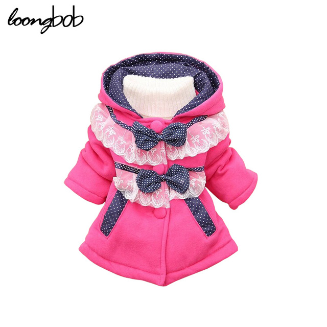 New children girls outerwear jackets baby girls autumn winter fashion hoodies polka lace sweater bebe bow-knot coat 287A