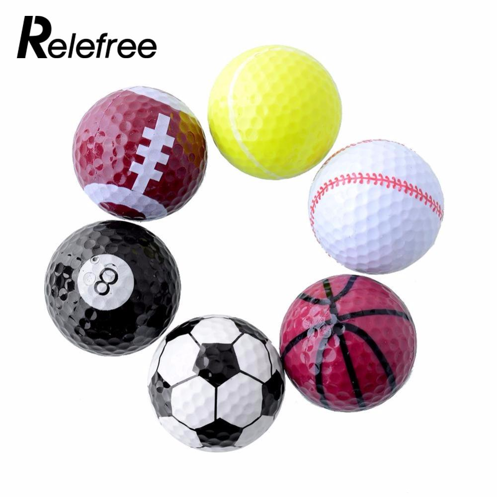 Relefree 1 Set 6PCs Novelty Assorted Creative Champion Sports Golf Double *Balls Joke Fathers Day Best Present Gift Rubber