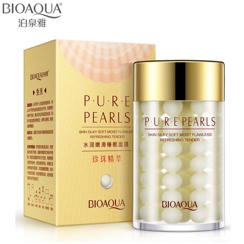 BIOAQUA Brand Skin Care Pure Pearl Sleeping Face Mask Depth Replenishment Moisturizing Oil-control Whitening Facial Essence Mask