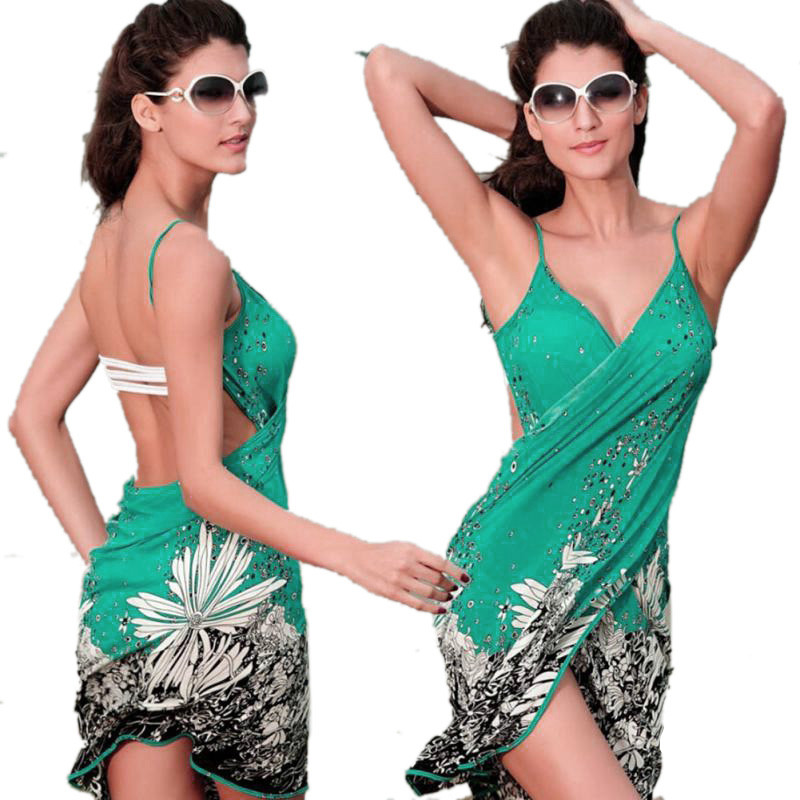 17 New Hot Women Beach Dress Sexy Sling Beach Wear Dress Sarong Bikini Cover-ups Wrap Pareo Skirts Towel Open-Back Swimwear 3