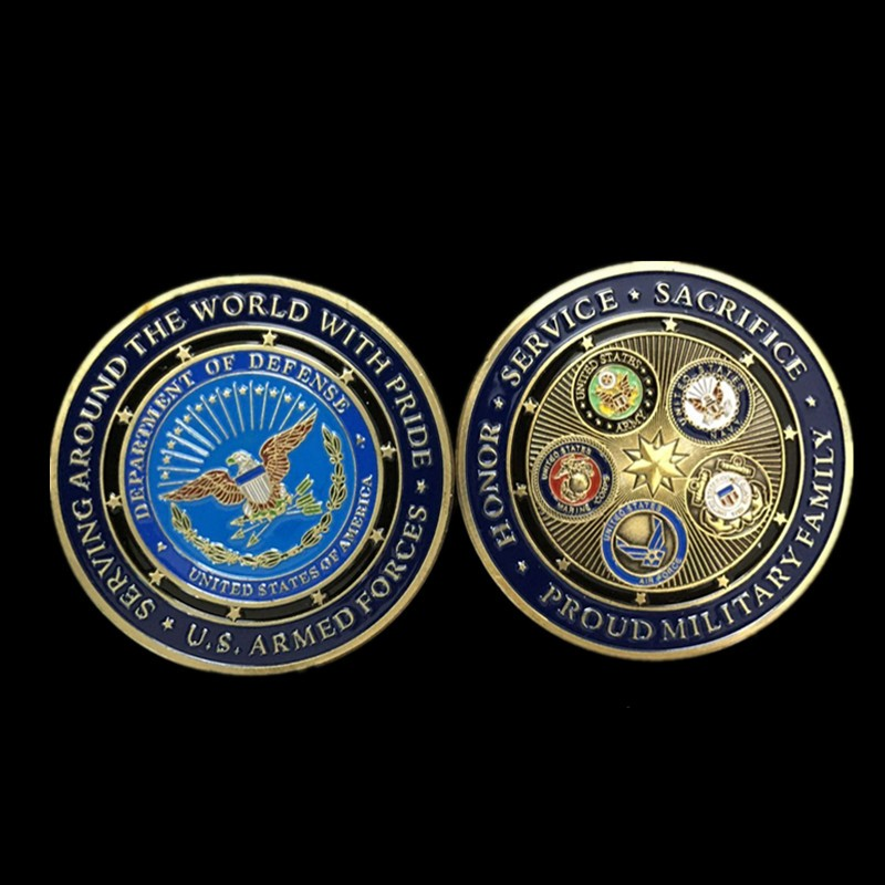 Hot sale fashion colorful metal crafts bronze plated U.S. Armed Forces medals Proud Military Family challenge coins collectibles