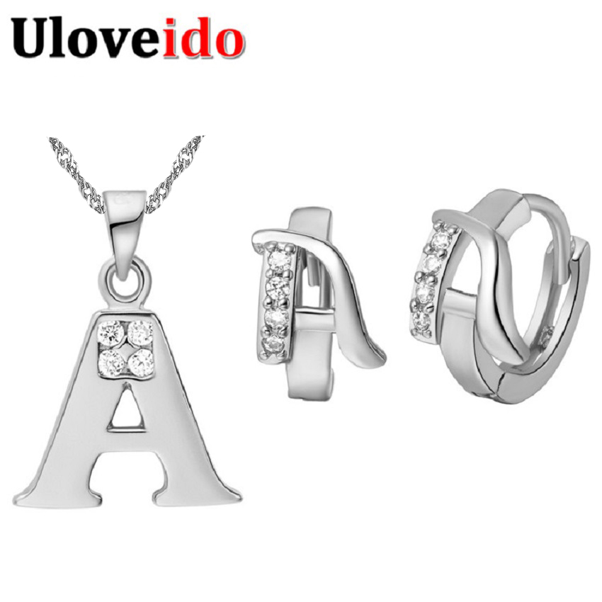 Fashion Jewelry Sets Letter A B C D E F G H I J K L M N O P Q R S T U V W X Y Z Necklace Pendent Stud Earrings Jewelry Set