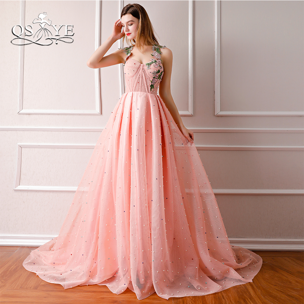 QSYYE 2018 New Arrival Pink Long   Prom     Dresses   Spaghetti Straps Sweetheart 3D Floral Lace Flower Formal Evening   Dress   Party Gown