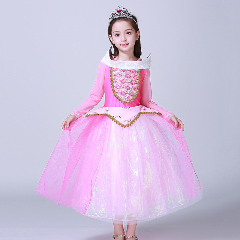 9a5d8fc8688 2017 Arrival spring summer Girls Sleeping Beauty Dress Princess Aurora Pink  Dress for Party Wedding Christmas 5 layer dresses-in Dresses from Mother    Kids ...