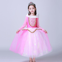 2017 Arrival spring summer Girls Sleeping Beauty Dress Princess Aurora Pink Dress for Party Wedding Christmas 5 layer dresses