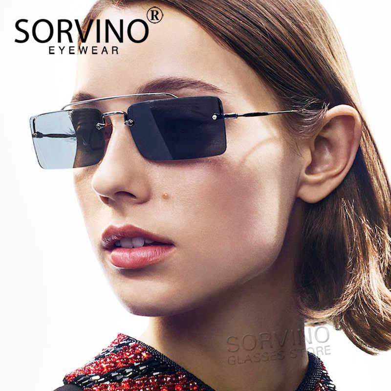 241f375620413 SORVINO Small Rimless Square Sunglasses Women 2018 Luxury Brand Designer  Tiny Rectangle 90s Yellow Red Sun