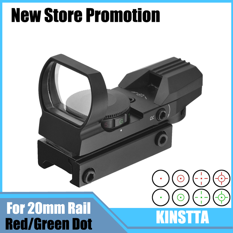 KINSTTA Tactical Holographic 4 Reticle Red Green Dot Sight Scope With Mount For RifleAirsoft 20mm Rail Hunting CS Battle