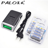 4 Slots LCD Display Smart Charger For AA AAA Batteries 8 Pcs Aa 3000mah Nimh Rechargeable