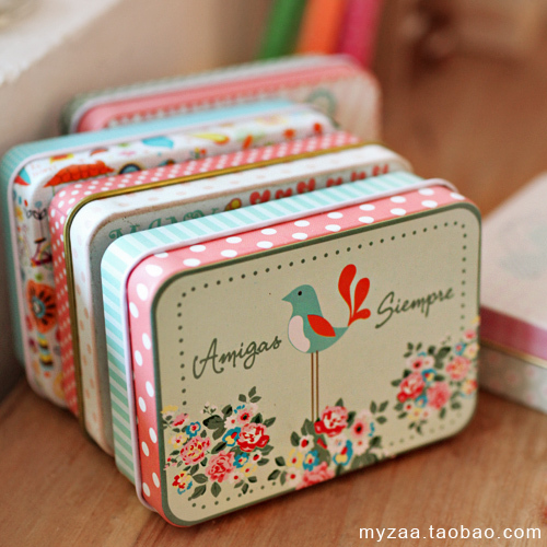 5 pieces lot tin sheet small storage box creative card candy jewelry box girls gift in storage - Small tin girl ...